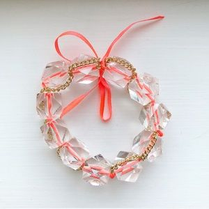 Chunky clear bead & coral pink ribbon bracelet